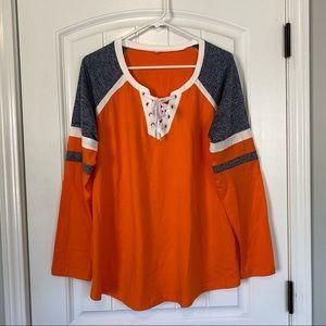 Long Sleeve Orange/Gray Tie Front Tee Size XXL